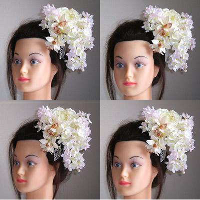 ホワイトローズと紫陽花の結婚式髪飾り
