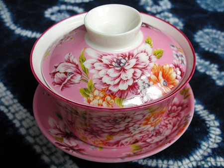 台湾花布の蓋碗