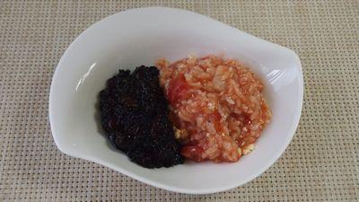 赤と黒のお粥